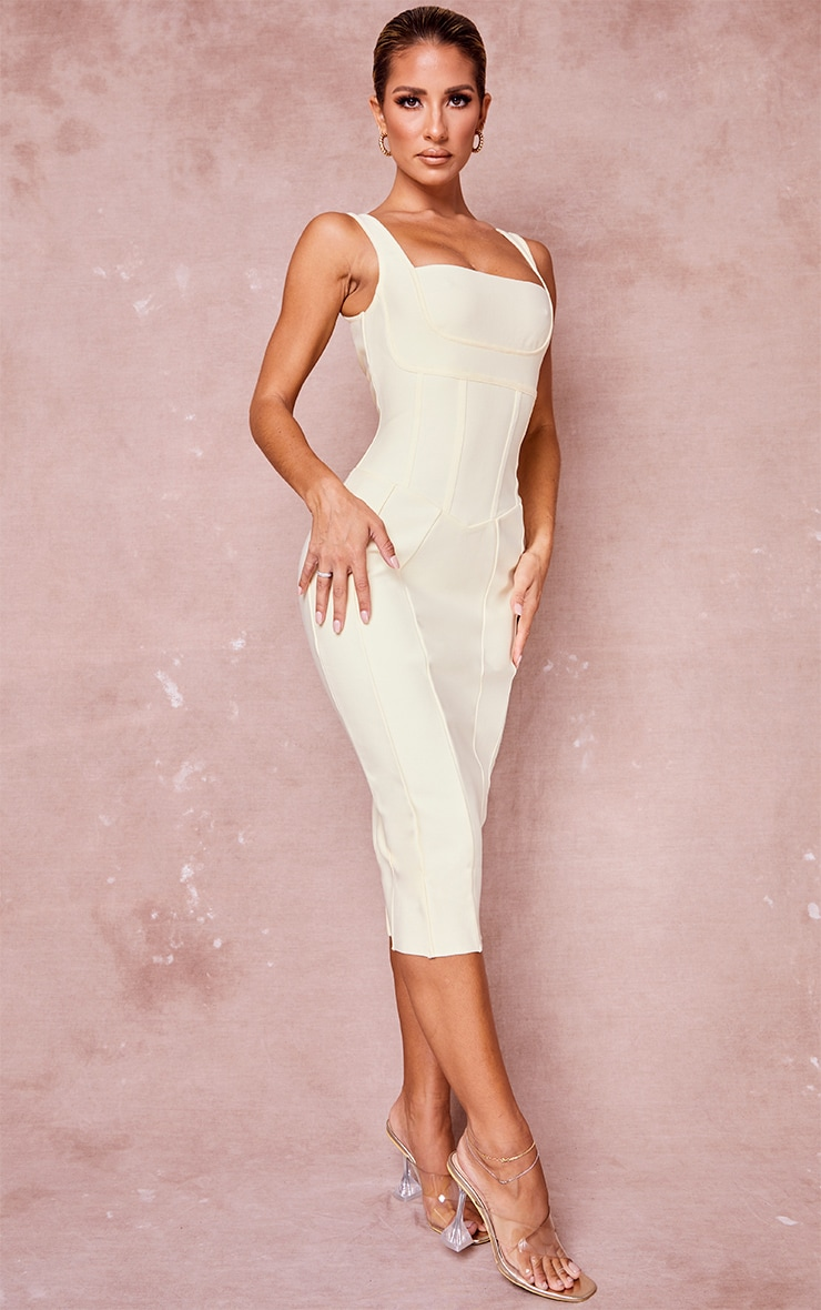 Cream Bandage Panel Detail Sleeveless Midi Dress 3