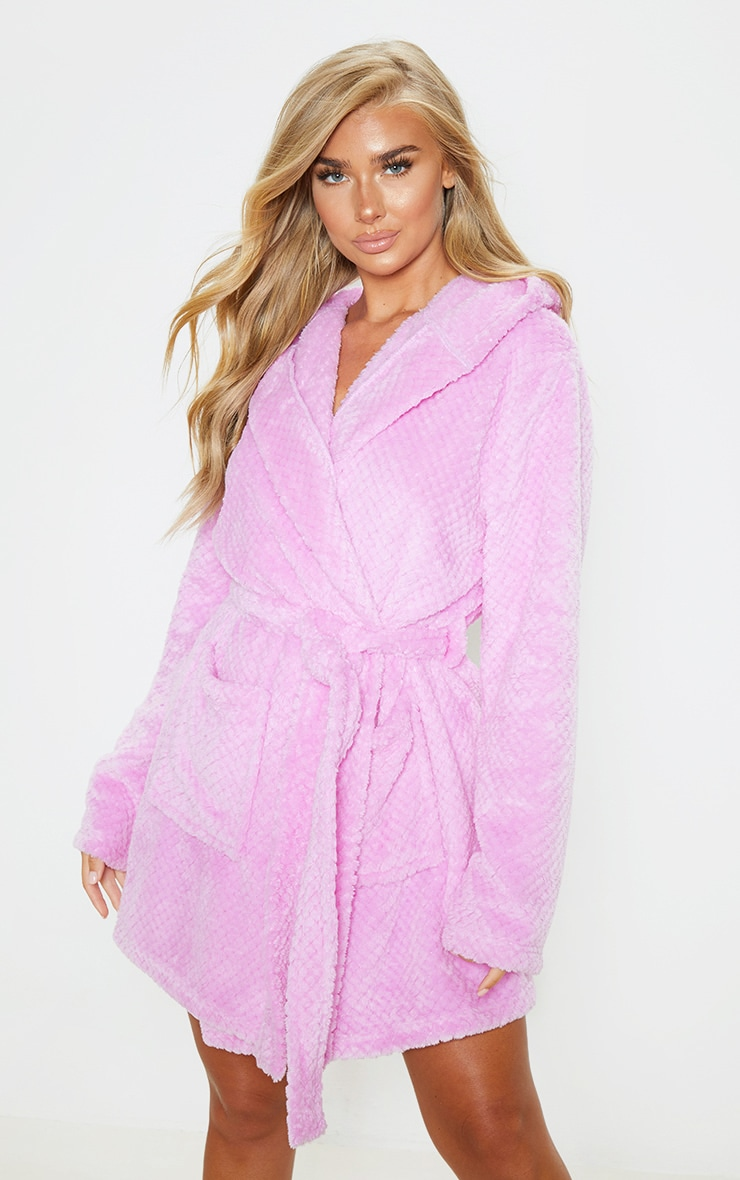PRETTYLITTLETHING Lilac Textured Fluffy Dressing Gown 2