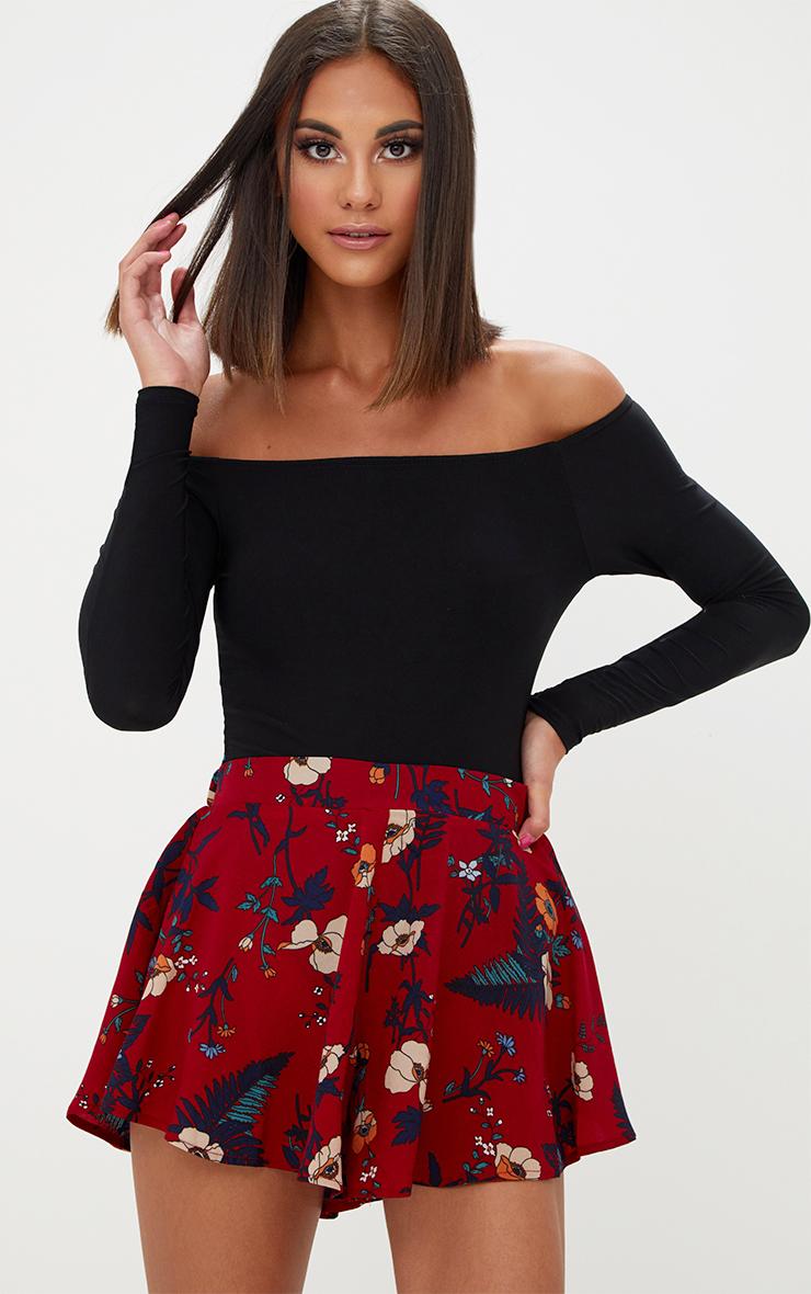 Burgundy Floral Floaty Shorts 1