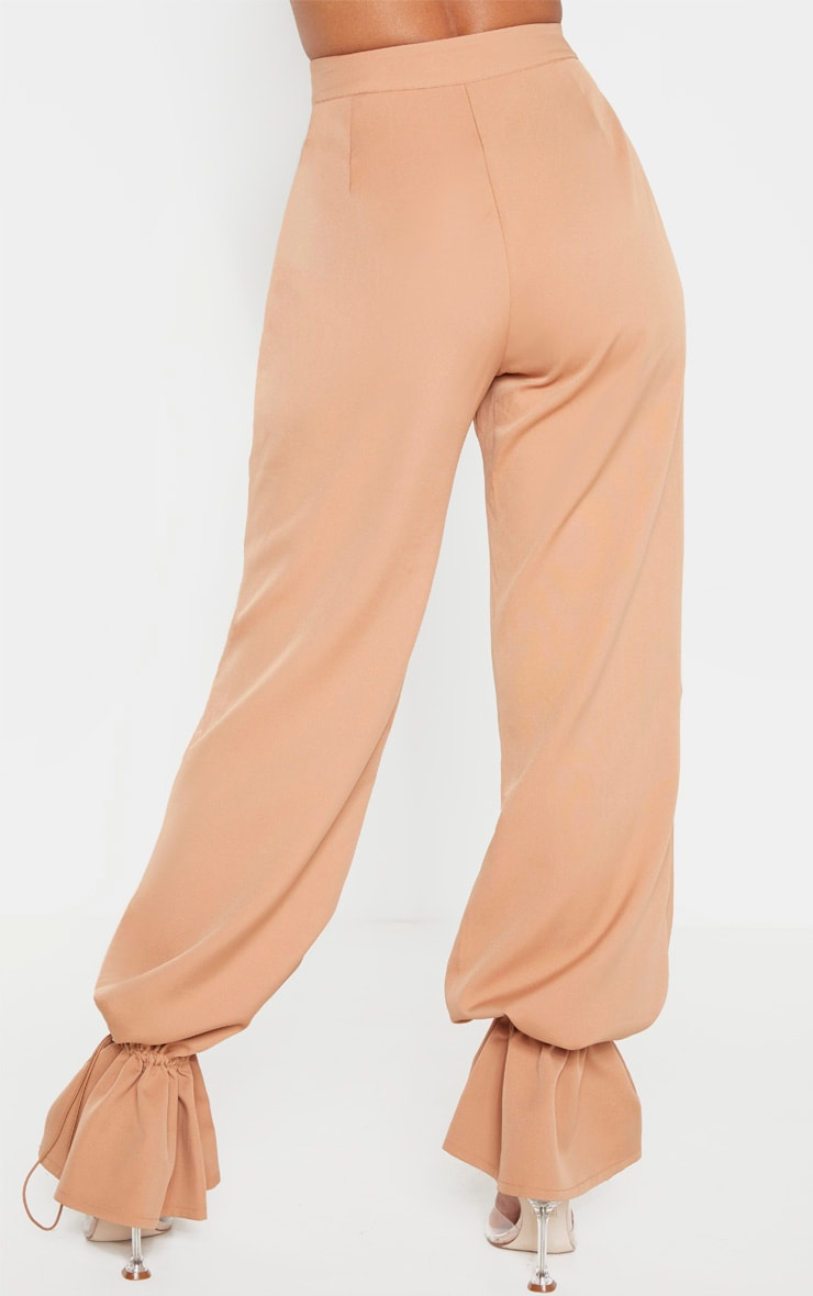 Camel Woven Cuffed Straight Leg Pants 4