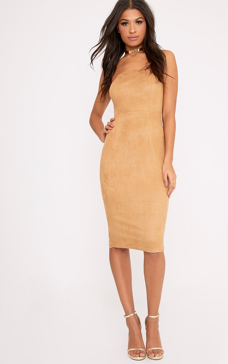 Kiya Tan Faux Suede Bandeau Midi Dress 1