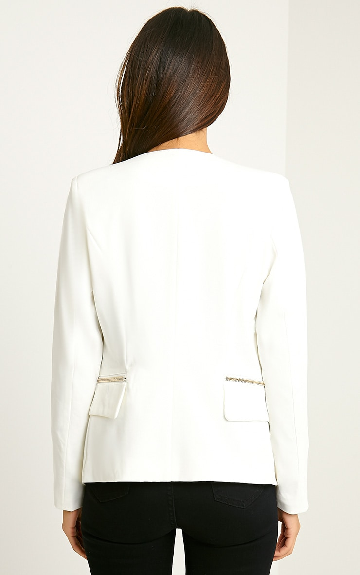 Carlina Cream Zip Pocket Blazer 2