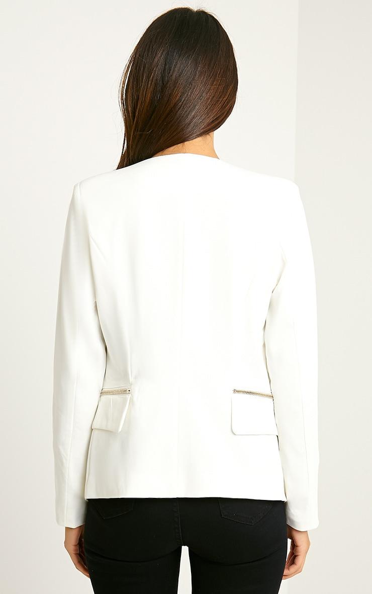 Carlina Cream Zip Pocket Blazer 2