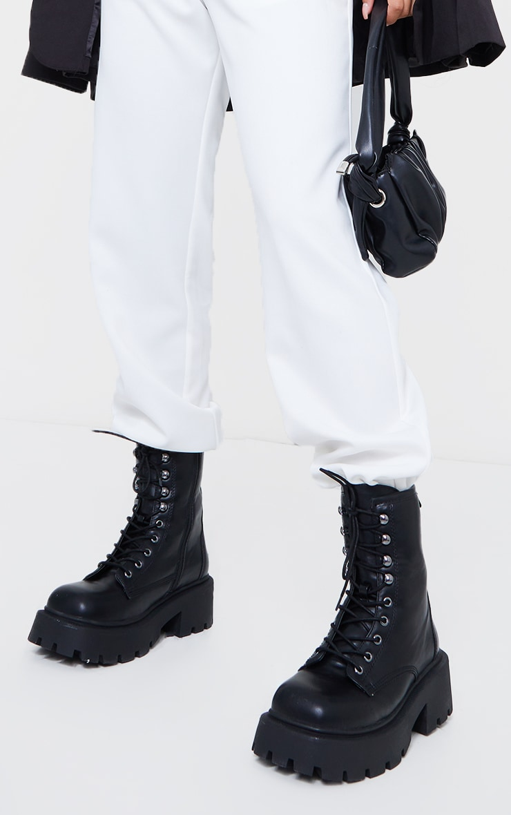 Black Extra Chunky Sole Lace Up Biker Boots 2