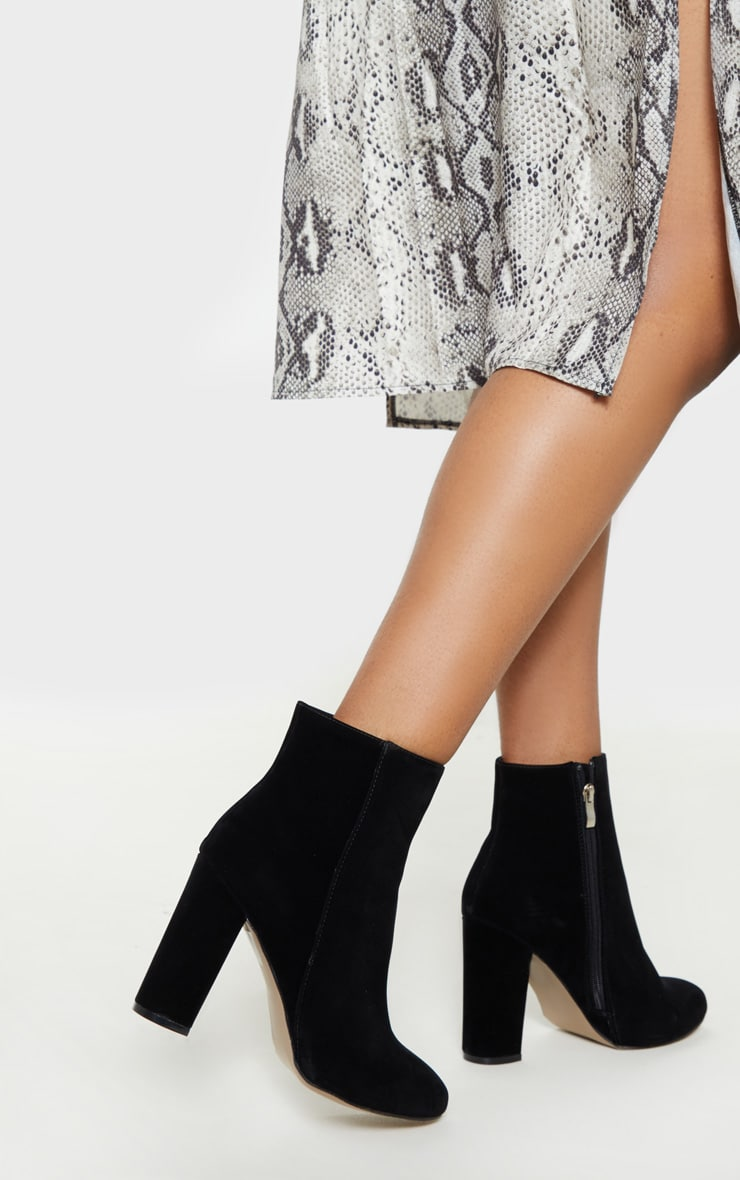 Black Wide Fit Behati Block Heeled Ankle Boot 2