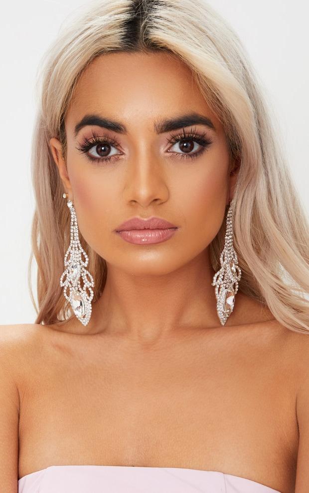 Silver Oval Diamante Drop Earrings 2