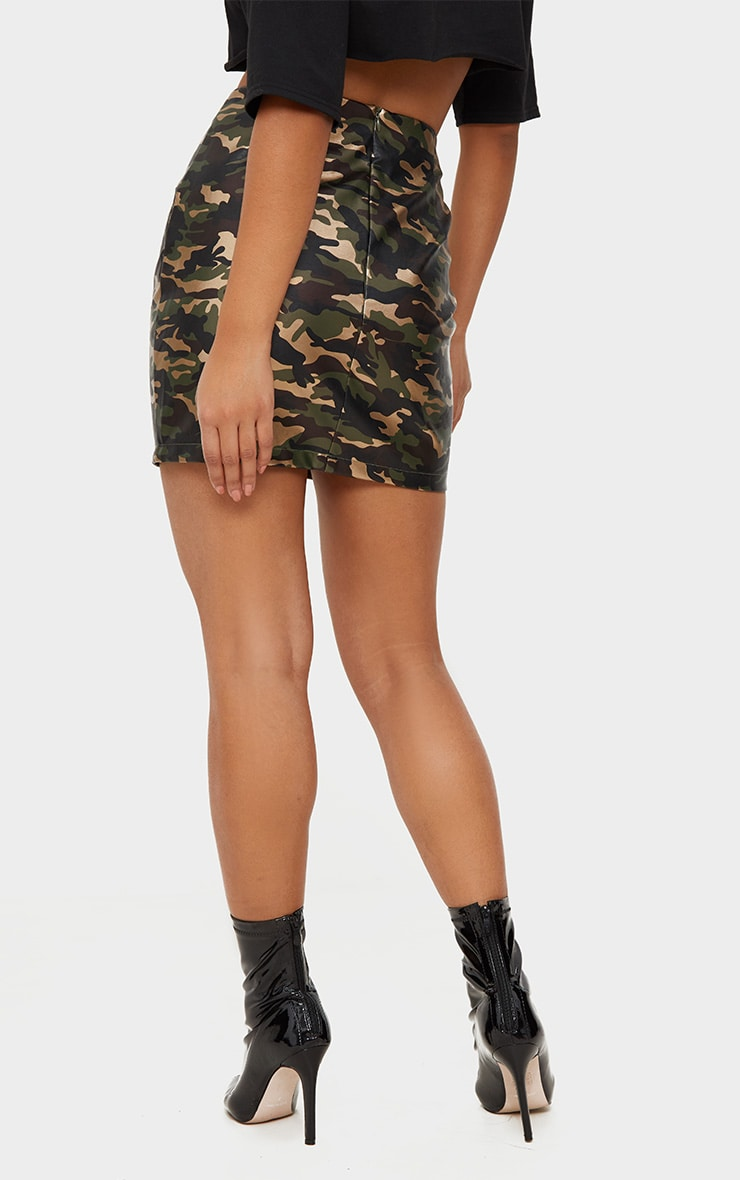 Khaki Faux Leather Camo Print Mini Skirt 4