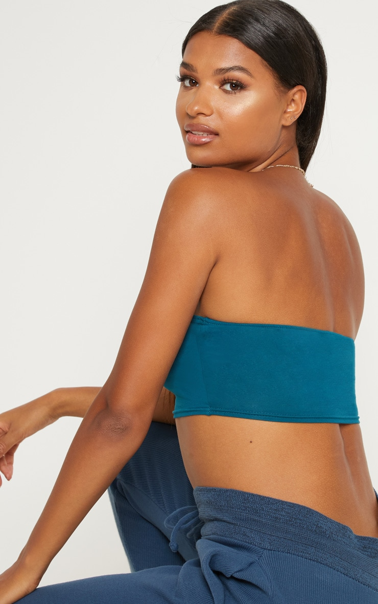 Petrol Blue Cotton Stretch Bandeau Crop Top  2
