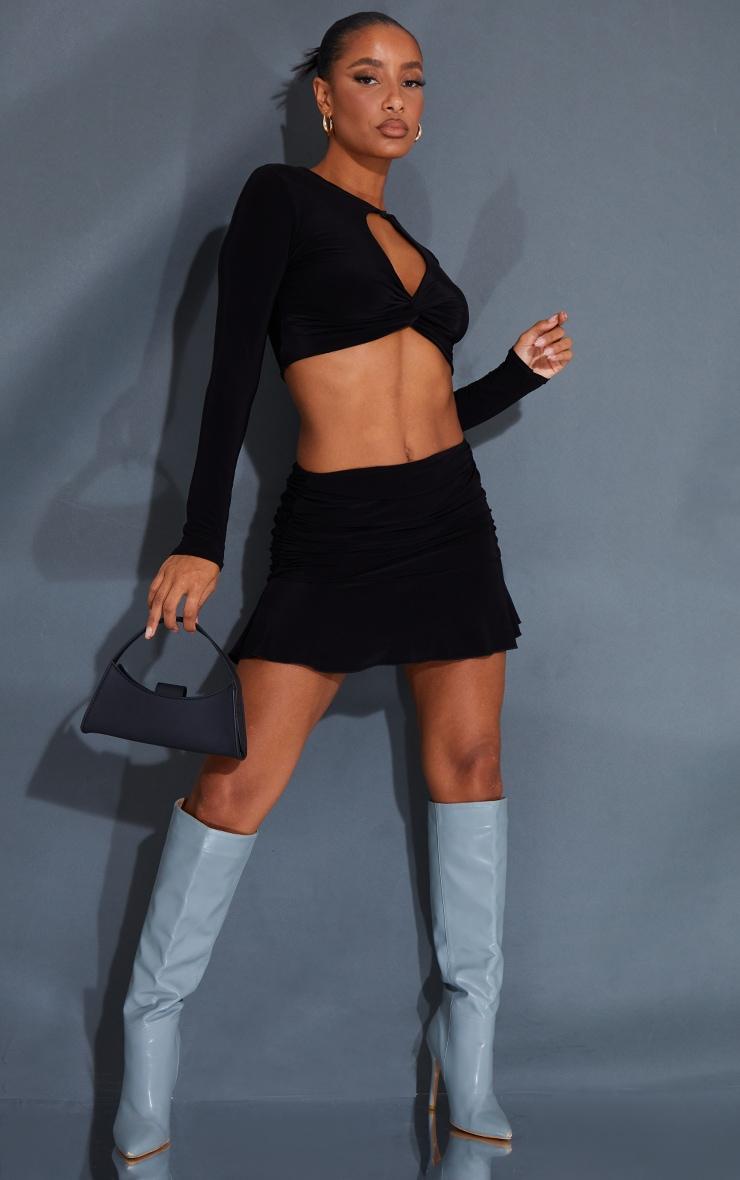 Black Ruched Slinky Frill Hem Mini Skirt 1