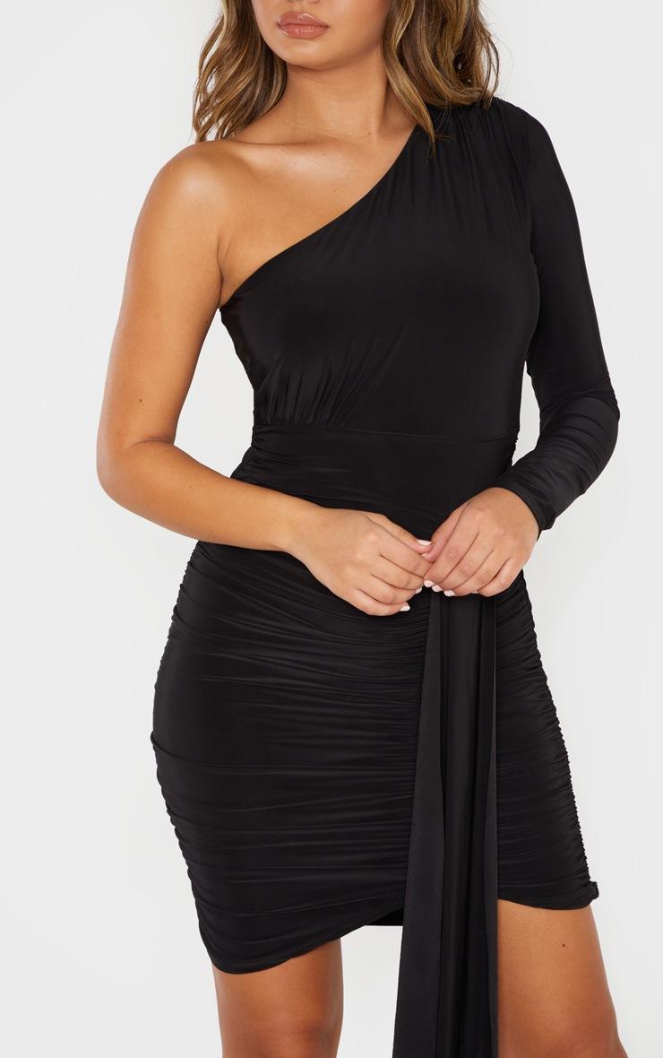 Black Slinky One Shoulder Drape Detail Bodycon Dress 5