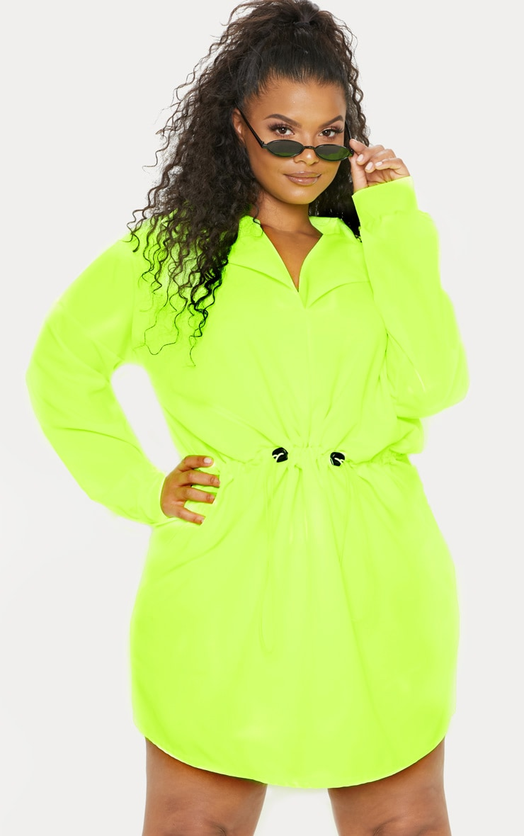 Plus Neon Lime Toggle Waist Shift Dress 4