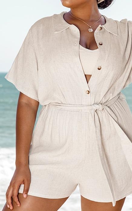 Plus Sand Button Up Romper 5