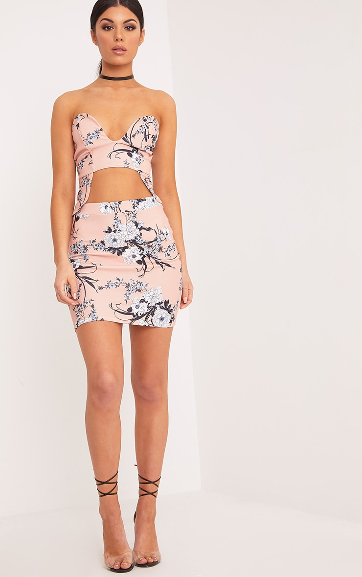 Blanka Nude Floral Print Bandeau Cut Out Crop Top  4