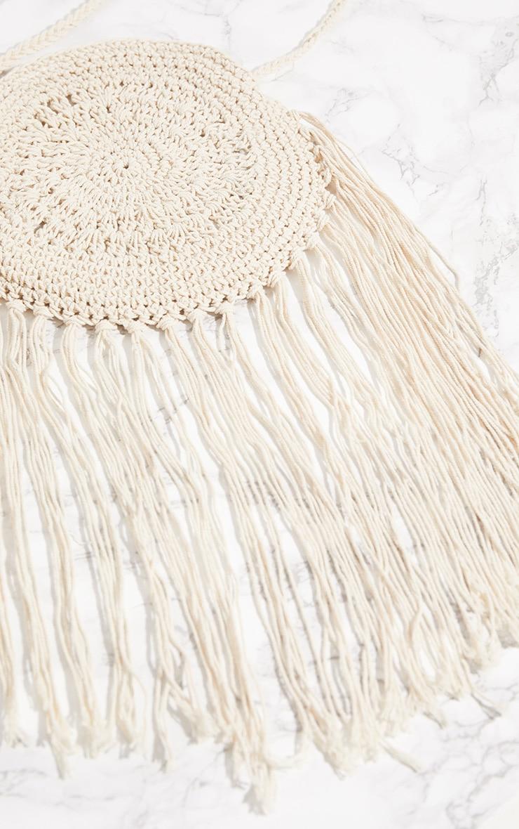 White Crochet Round Cross Body Bag 3