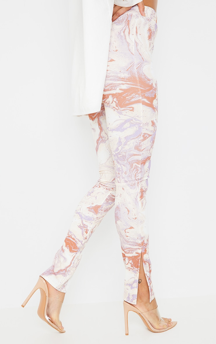 Cream Marble Print Scuba Split Hem Leggings 3