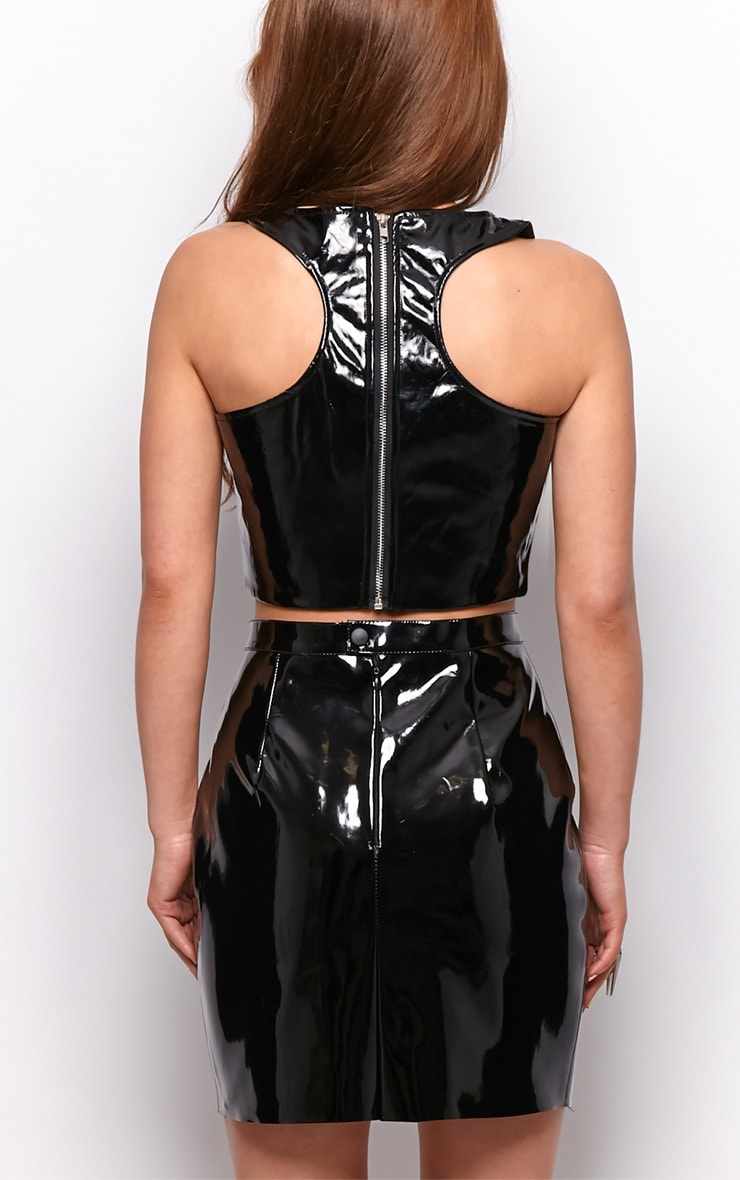Lina Black PVC Racerback Crop Top 2