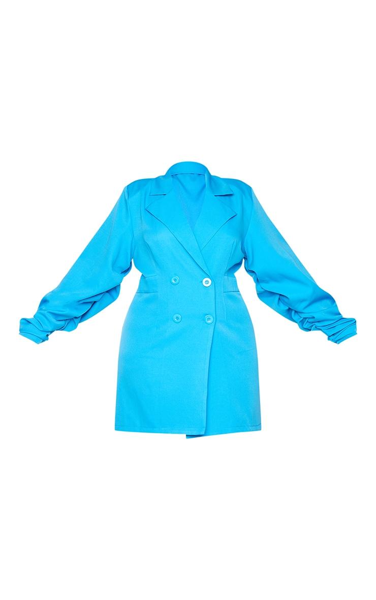 Plus Bright Blue Ruched Sleeve Oversized Blazer Dress 5