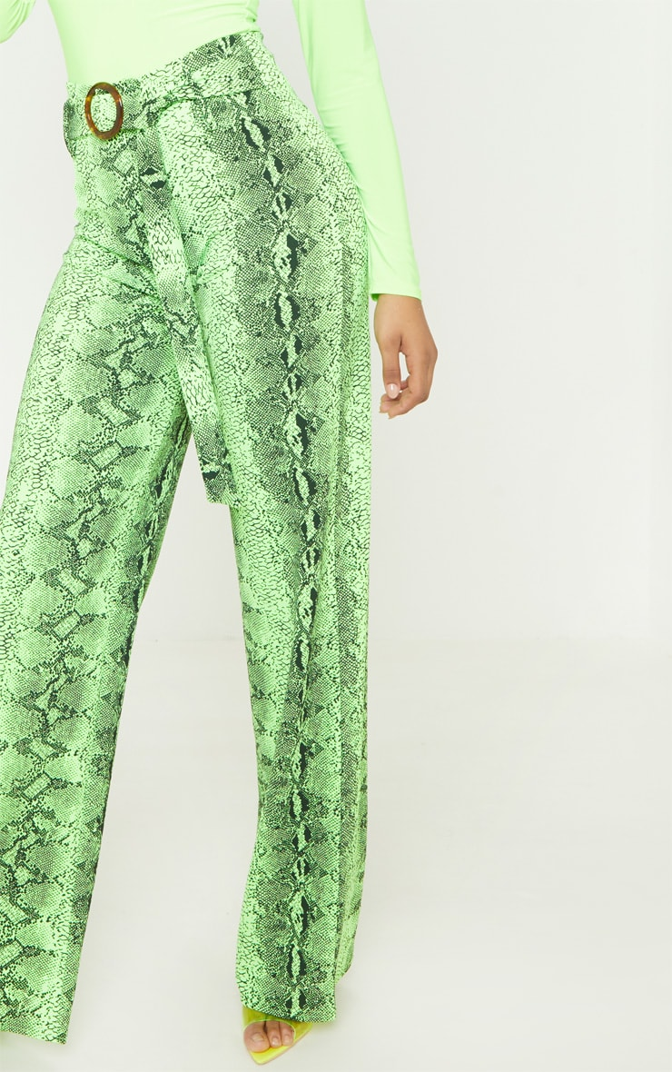 Tall Neon Lime Snake Print Wide Leg Trouser 5