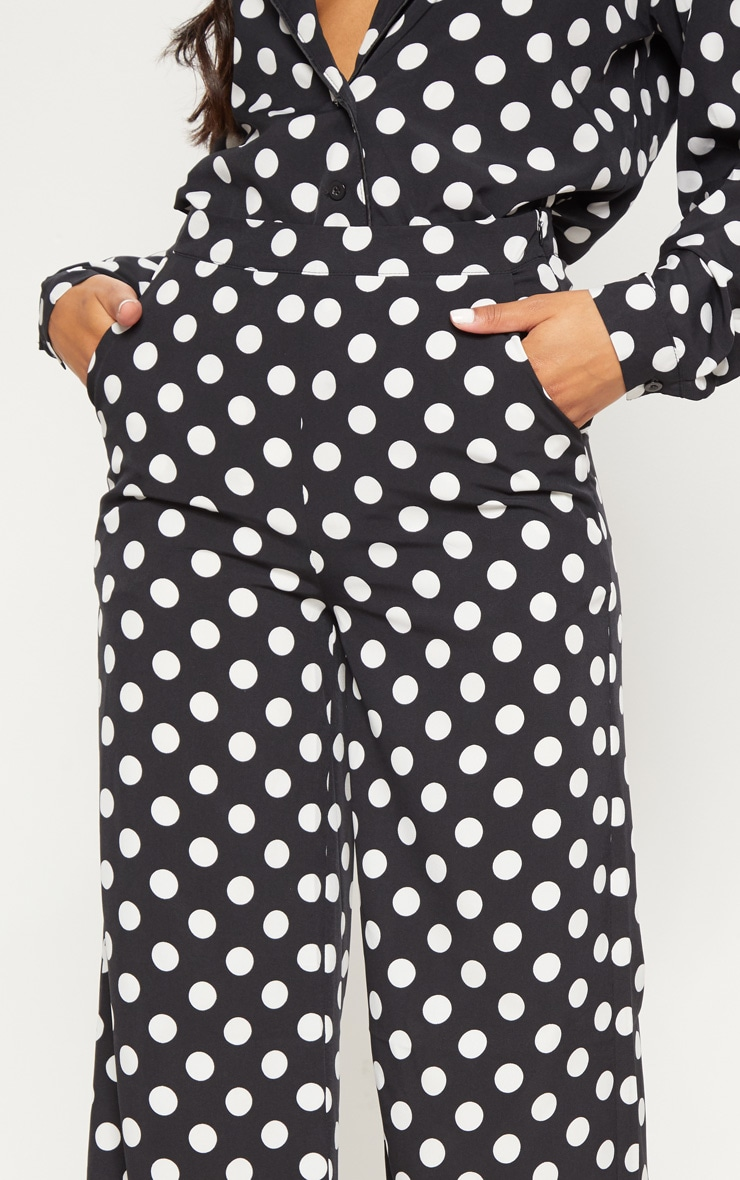 Black Polka Dot Wide Leg Pants 5