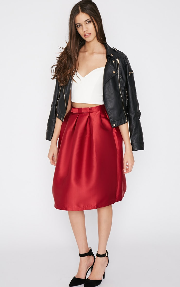 Maggy Red Satin A Line Midi Skirt  3