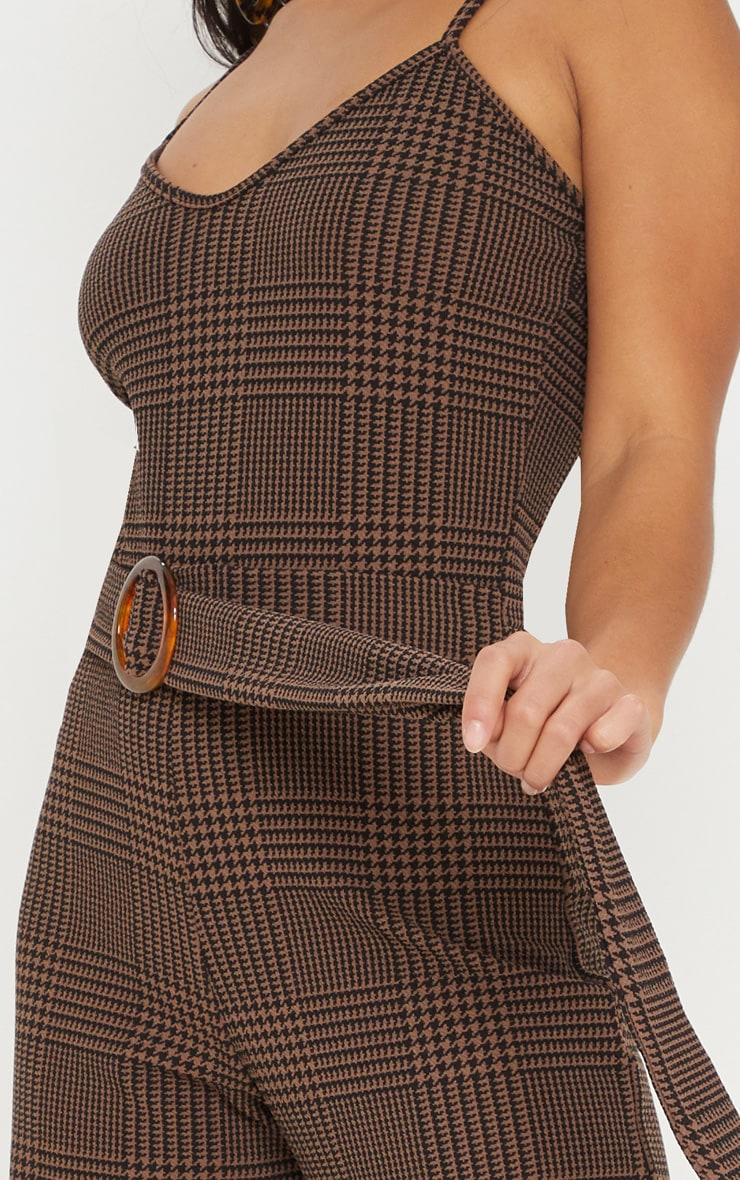 Petite Brown Checked Tortoise Belt Wide Leg Jumpsuit 5