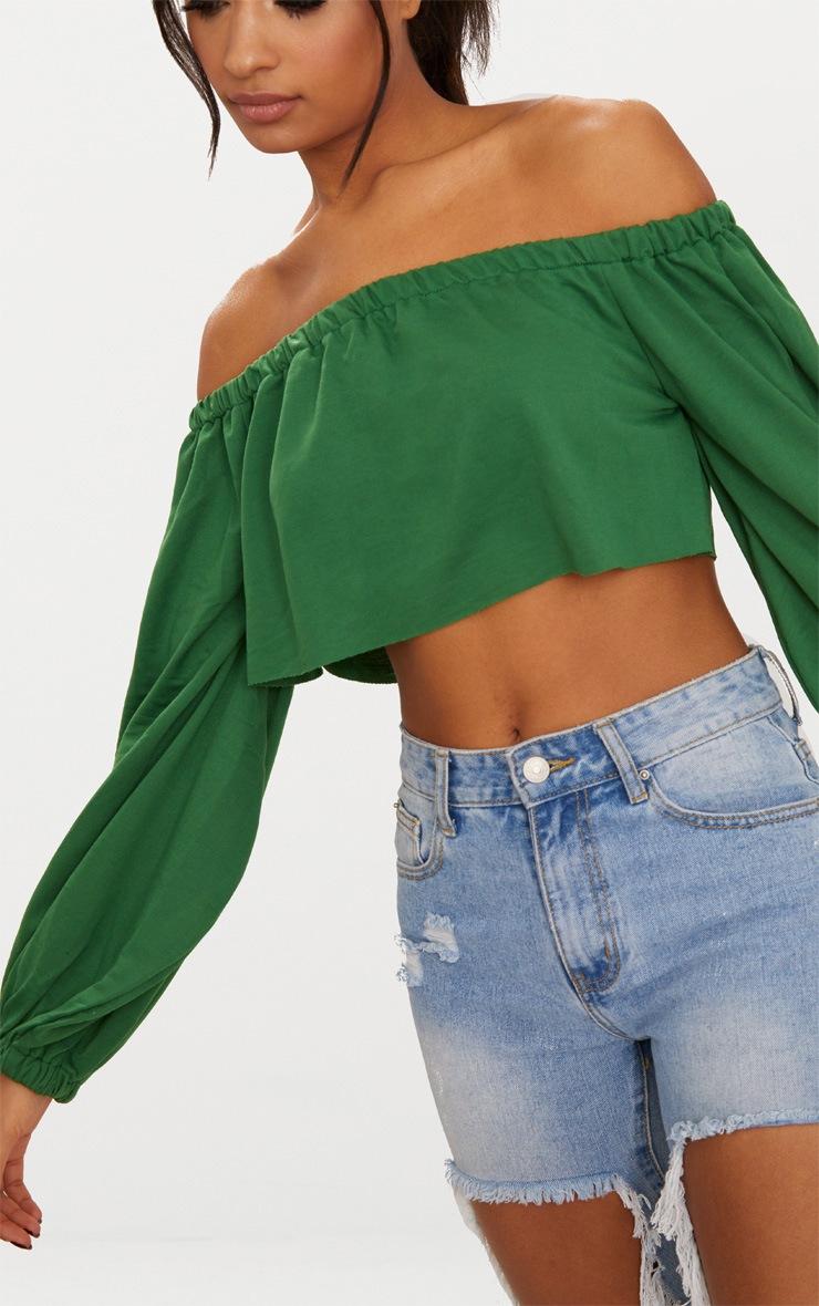 Forest Green Bardot Balloon Sleeve Sweater 5
