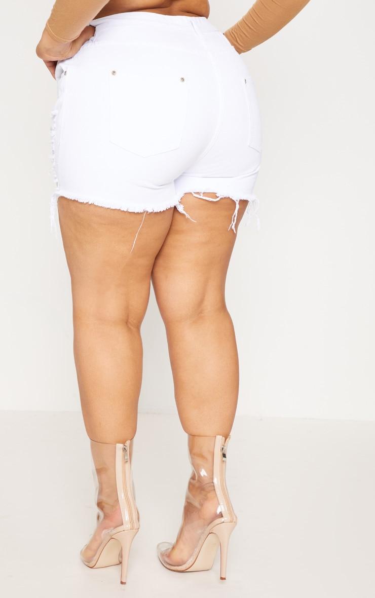 Plus  White Extreme Ripped Mom Denim Shorts  4
