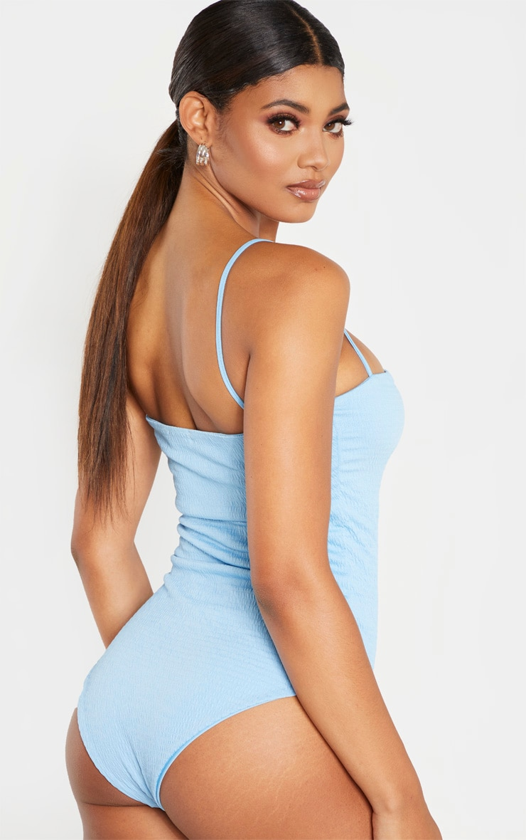 Tall Dusty Blue Crinkle Square Neck Strappy Swimsuit 2