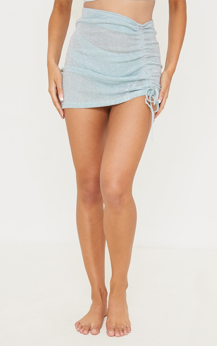 Baby Blue Glitter Ruched Side Beach Skirt 2