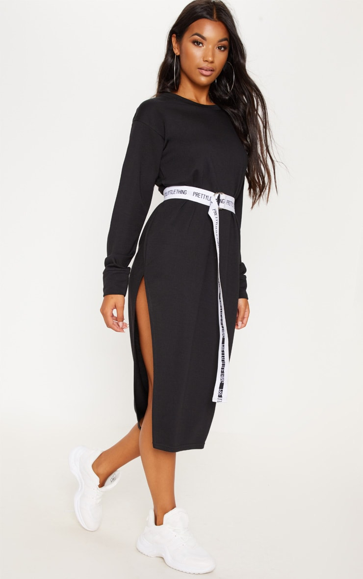 Black Oversized Side Split Midi Jumper Dress 4