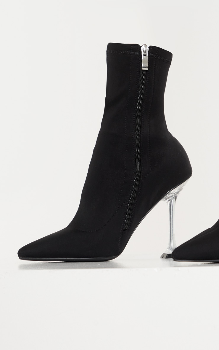 Black Cake Stand Clear Heel Sock Boot 3