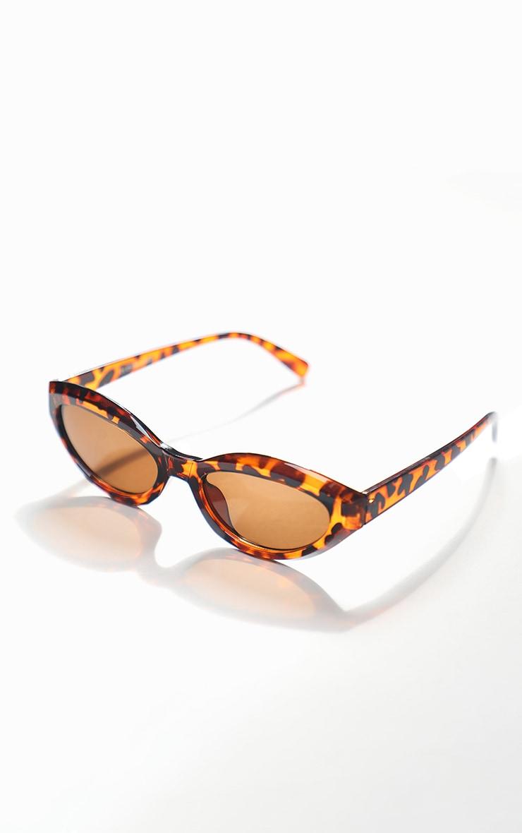 Brown Tortoise Round Frame Oversized Sunglasses 2