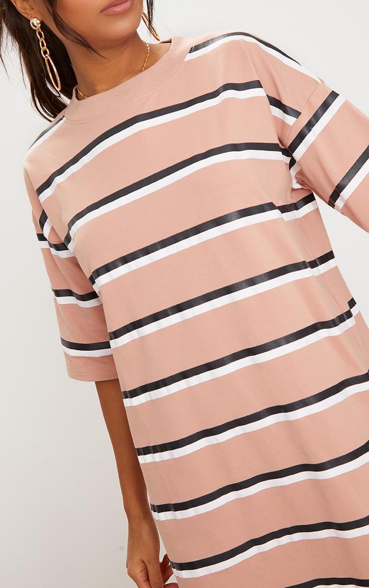 Recycled Camel Oversized Striped Boyfriend T Shirt Dress 4