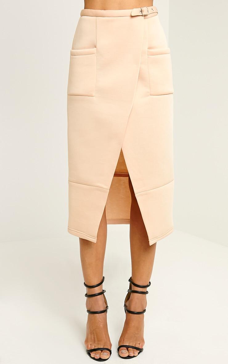 Savi Nude Wrap Midi Skirt 2
