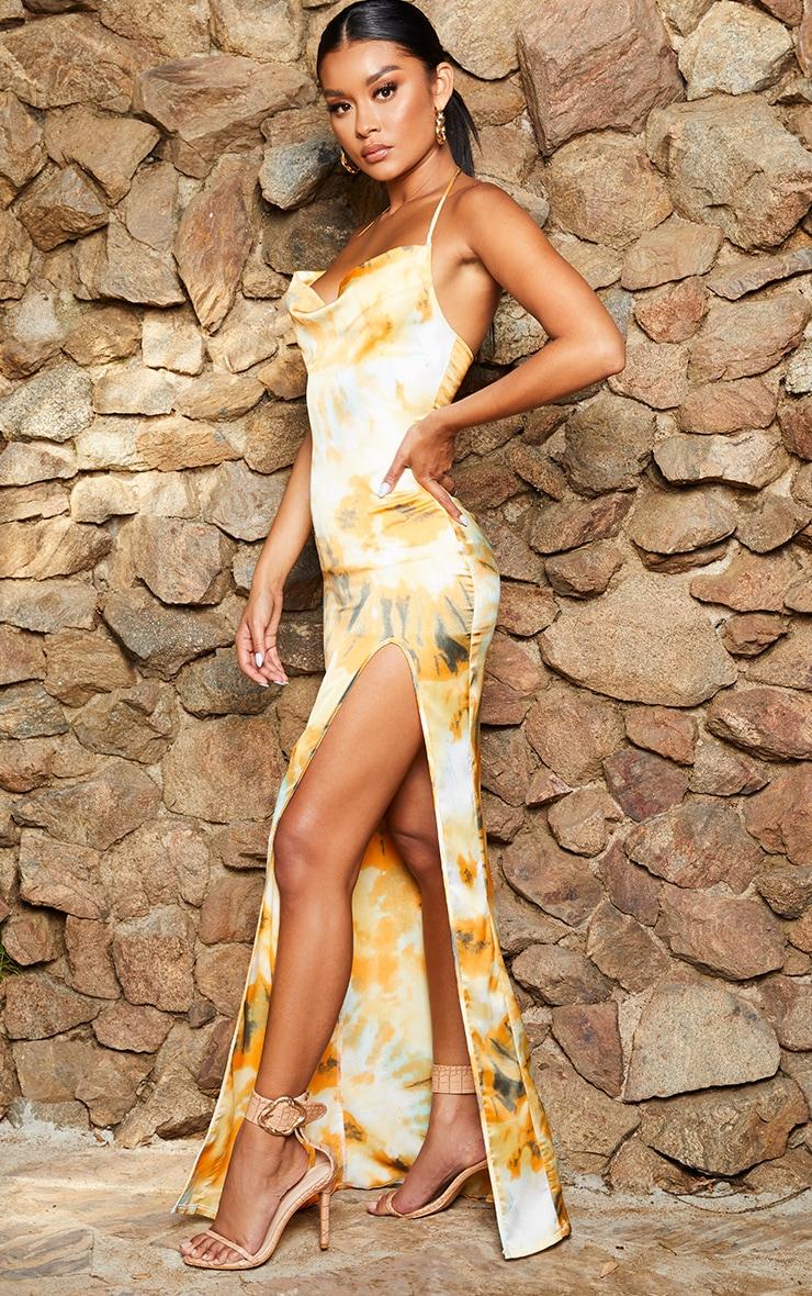Orange Tie Dye Strappy Cowl Neck Maxi Dress 3