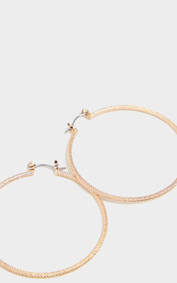 Gold Faceted Skinny Medium Hoop Earrings 3