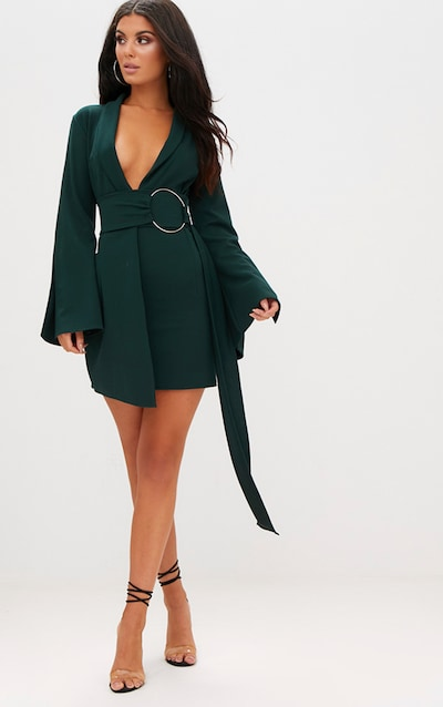 Emerald Green Oversized Ring Detail Blazer Dress 8acf1e46f