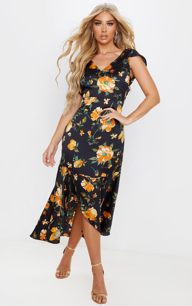 Black Floral Print Ruched Skirt Frill Hem Midi Dress 2