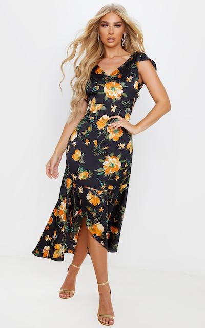 Black Floral Print Ruched Skirt Frill Hem Midi Dress
