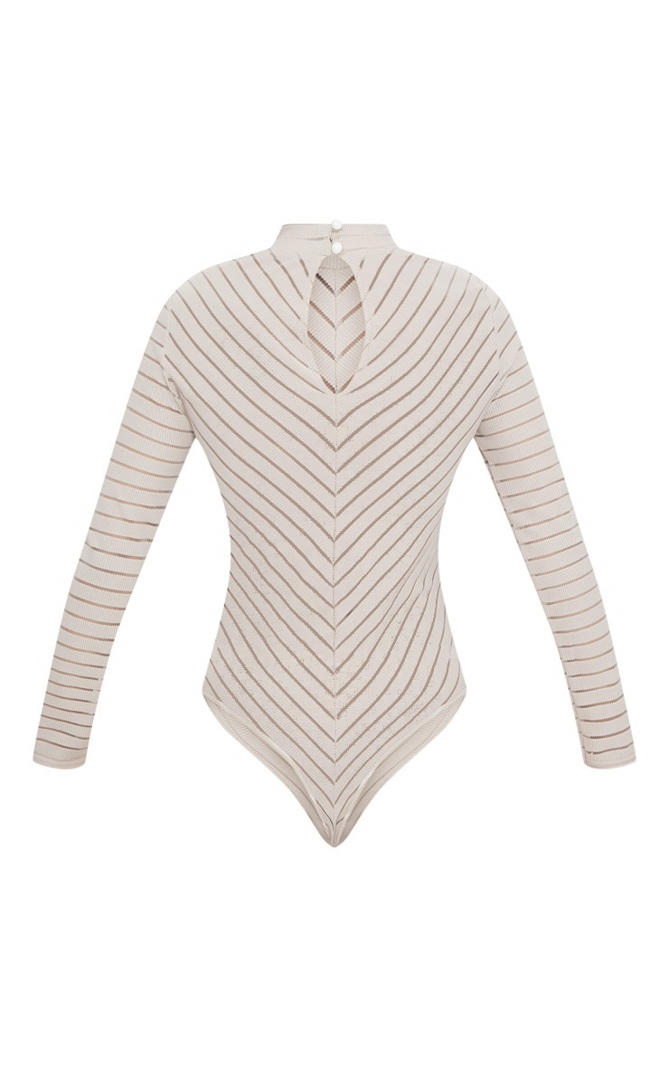 Nude Chevron Mesh Long Sleeve Thong Bodysuit 4
