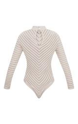 1e9feef2a5c7a Nude Chevron Mesh Long Sleeve Thong Bodysuit image 4