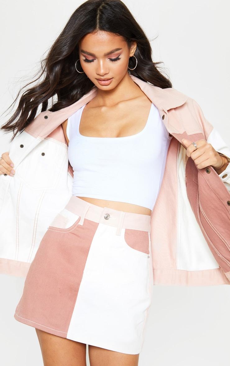 Multi Colour Block Denim Skirt 1