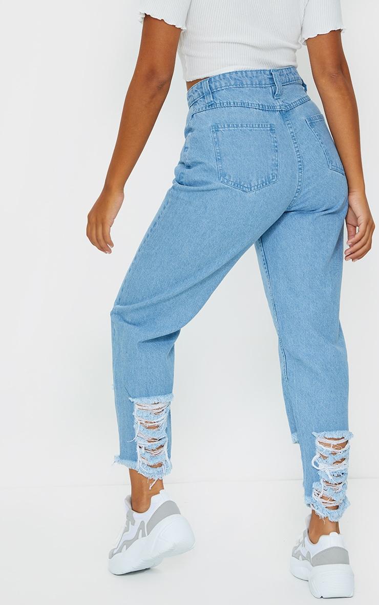 Petite Ice Blue Distressed Denim Cuff Hem Jeans 3