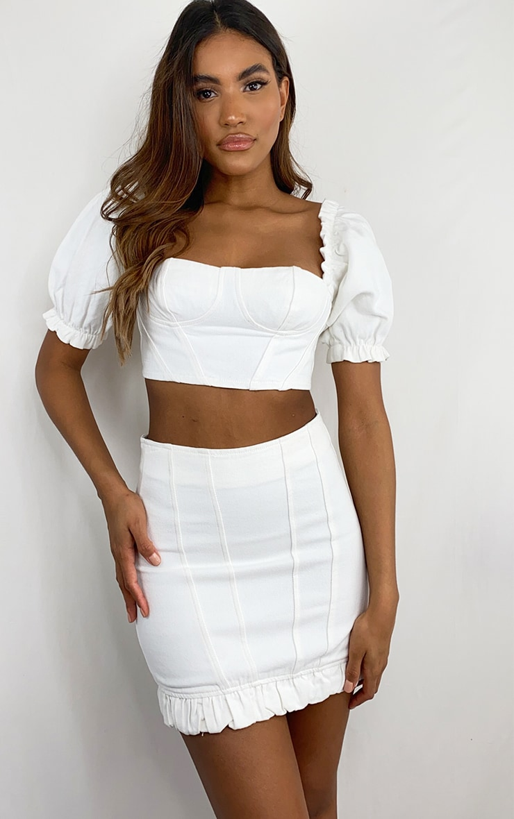White Seam Detail Denim Mini Skirt 1
