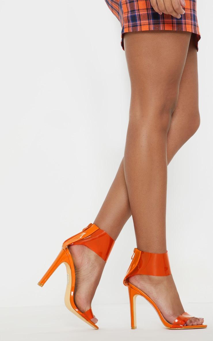 Orange Flat Heel Clear Cuff Strappy Sandal