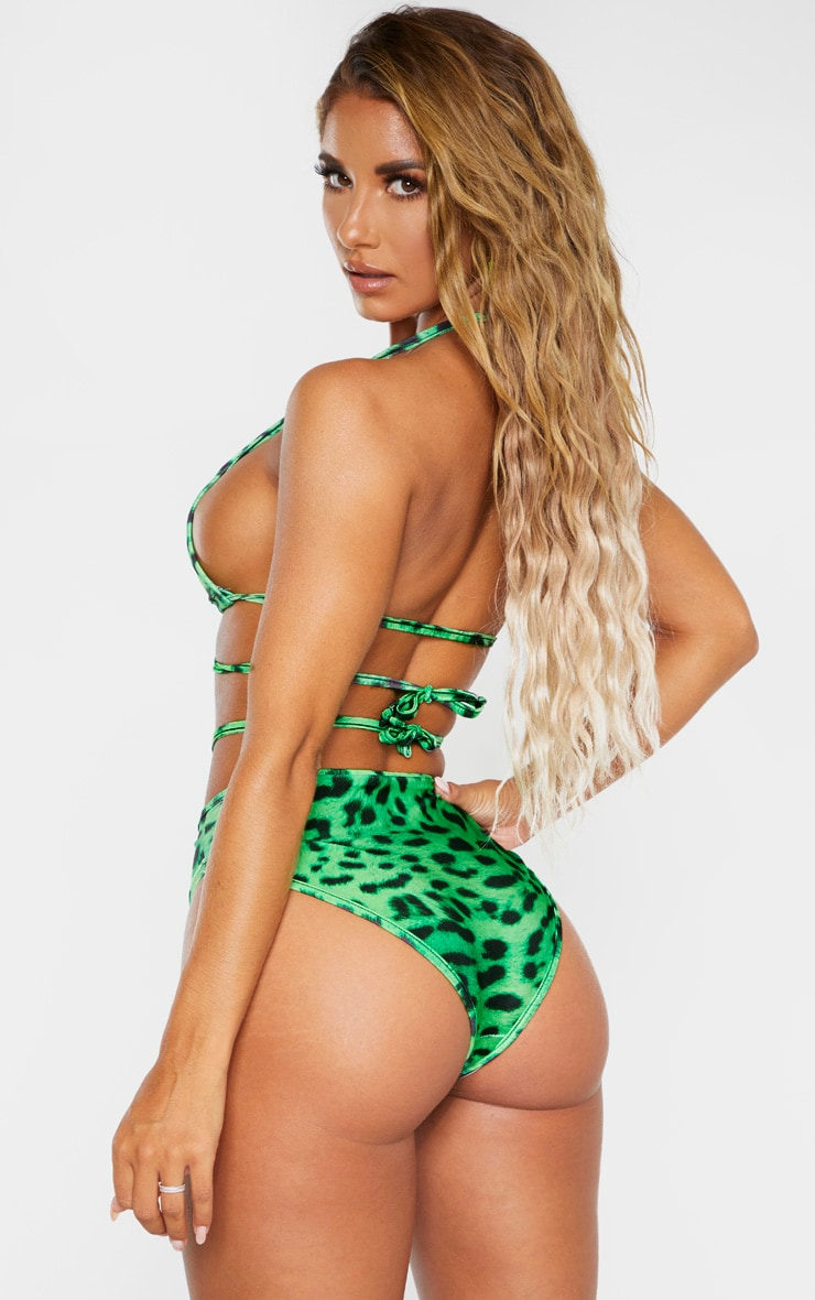Green Cheetah Mini Triangle Bikini Top 2