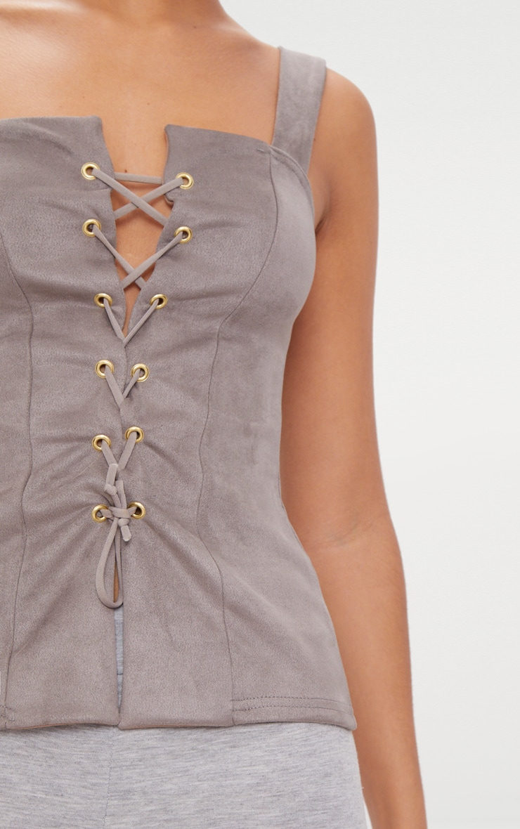 Mushroom Faux Suede Lace Up Top  5