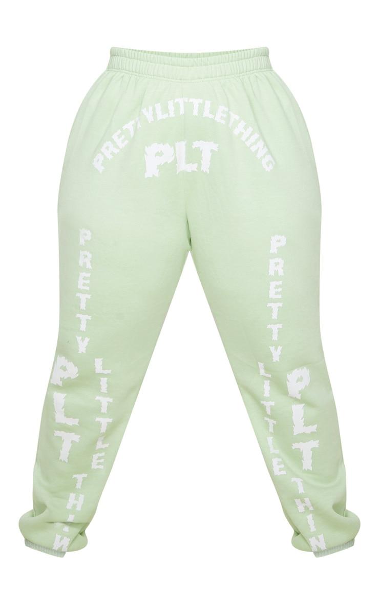 PRETTYLITTLETHING Plus Mint Green Slogan Printed Joggers 5