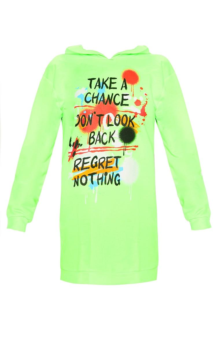 Neon Green Graffiti Slogan Oversized Hoodie Jumper Dress 3