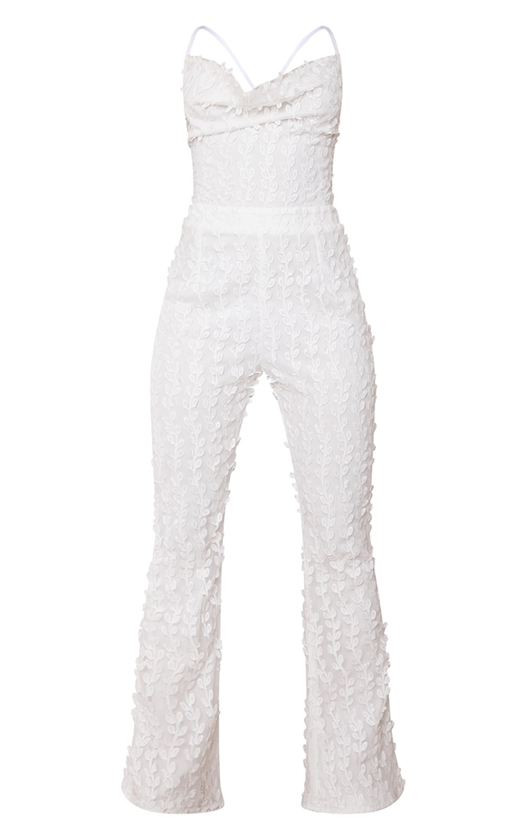 White Embroidered Mesh Lace Up Back Jumpsuit 5